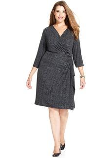 Charter Club Plus Size Chevron-Print Faux-Wrap Dress