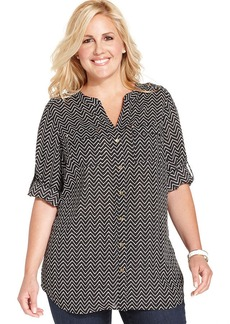 Charter Club Plus Size Chevron-Print Utility Shirt