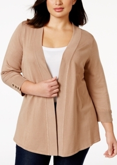 Charter Club Plus Size Classic Open-Front Cardigan Sweater, Only at Macy's