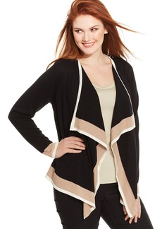Charter Club Plus Size Colorblocked Draped Cardigan