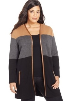 Charter Club Plus Size Colorblocked Open-Front Cardigan