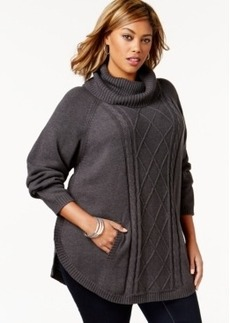 Charter Club Plus Size Cowl-Neck Cabled-Front Poncho Sweater, Only at Macy's