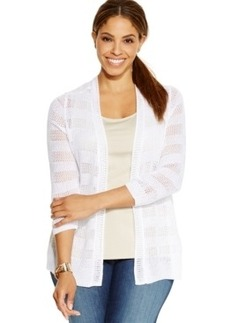 Charter Club Plus Size Crochet Open-Front Cardigan