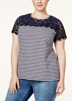 Charter Club Plus Size Crochet-Trim Striped Top, Only at Macy's