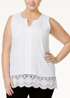 Charter Club Plus Size Crochet-Trim Top, Only at Macy's