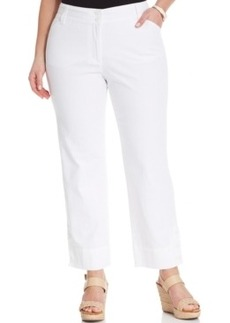 Charter Club Plus Size Cropped Straight-Leg Jeans, White Wash