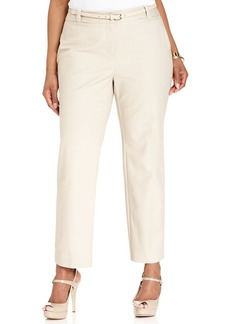 Charter Club Plus Size Curvy Belted Straight-Leg Pants
