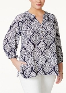 Charter Club Plus Size Damask-Print Blouse, Only at Macy's