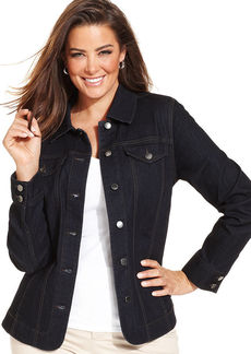 Charter Club Plus Size Denim Jacket, Rinse Wash