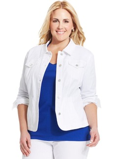 Charter Club Plus Size Denim Jacket, White Wash