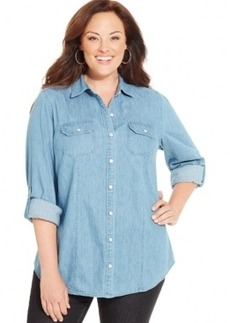 Charter Club Plus Size Denim Utility Shirt, Only at Macy's