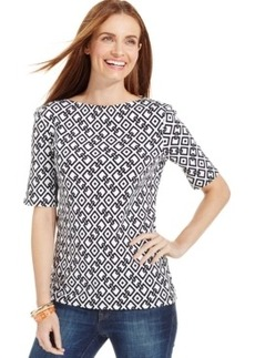 Charter Club Diamond-Print Elbow-Sleeve Top