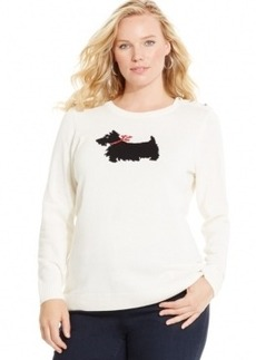 Charter Club Plus Size Dog-Graphic Pullover Sweater, Only at Macy's