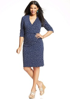 Charter Club Plus Size Dot-Print Faux-Wrap Dress