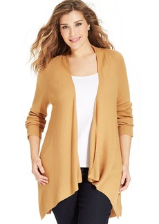 Charter Club Plus Size Draped Ribbed-Knit Cardigan