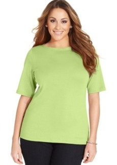 Charter Club Plus Size Elbow-Sleeve Boat-Neck Tee, Only at Macy's