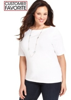 Charter Club Plus Size Elbow-Sleeve Pima-Cotton Boat-Neck Tee