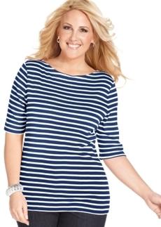 Charter Club Plus Size Elbow-Sleeve Striped Pima-Cotton Top