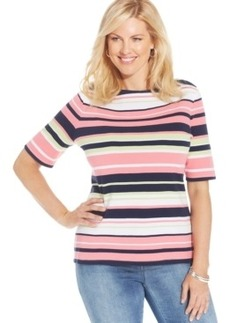 Charter Club Plus Size Elbow-Sleeve Striped Pima-Cotton Top