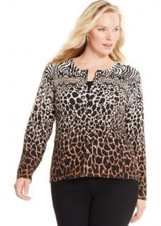 Charter Club Plus Size Embellished Animal-Print Cardigan, Only at Macy's