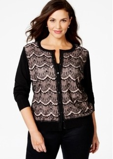 Charter Club Plus Size Embellished Lace-Detail Cardigan, Only at Macy's
