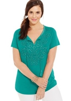 Charter Club Plus Size Embellished Peasant Top