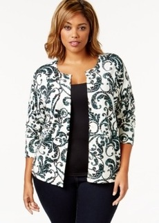 Charter Club Plus Size Embellished Scrolling-Print Cardigan, Only at Macy's
