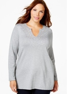 Charter Club Plus Size Embellished Split-Neck Top, Only at Macy's