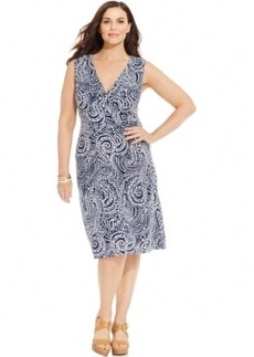 Charter Club Plus Size Empire-Waist Surplice Dress