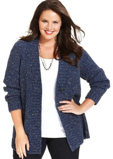Charter Club Plus Size Fafa-Knit One-Button Cardigan