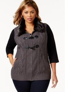 Charter Club Plus Size Faux-Fur-Collar Cabled Sweater Vest, Only at Macy's