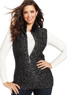 Charter Club Plus Size Faux-Fur Collar Vest