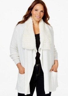 Charter Club Plus Size Faux-Fur-Trim Cardigan, Only at Macy's