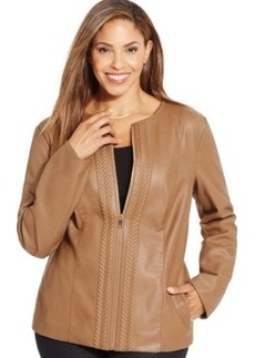 Charter Club Plus Size Faux-Leather Embossed Jacket, Only at Macy's