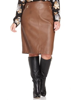 Charter Club Plus Size Faux-Leather Pencil Skirt