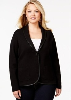 Charter Club Plus Size Faux-Leather Trim Blazer, Only at Macy's