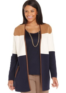 Charter Club Plus Size Faux-Leather-Trim Colorblocked Cardigan