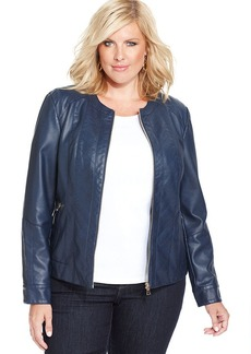 Charter Club Plus Size Faux-Leather Zip-Front Jacket