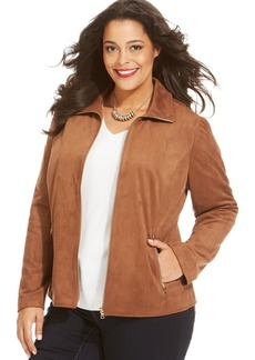 Charter Club Plus Size Faux-Suede Zip-Front Jacket