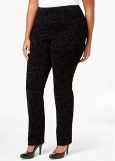 Charter Club Plus Size Flocked-Design Straight-Leg Ponte Pants, Only at Macy's