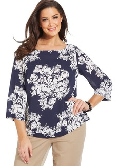 Charter Club Plus Size Floral-Print Blouse