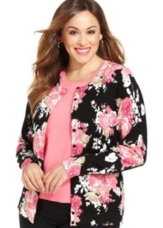Charter Club Plus Size Floral-Print Cardigan