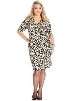 Charter Club Plus Size Floral-Print Faux-Wrap Dress