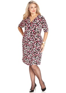 Charter Club Plus Size Floral-Print Faux-Wrap Dress