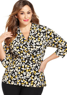 Charter Club Plus Size Floral-Print Faux-Wrap Top