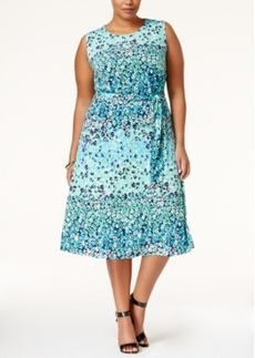 Charter Club Plus Size Floral-Print Fit & Flare Midi Dress, Only at Macy's