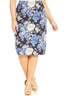Charter Club Plus Size Floral-Print Pencil Skirt