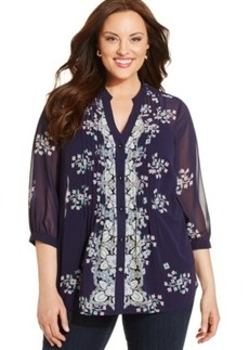 Charter Club Plus Size Floral-Print Pintucked Blouse