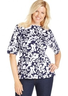 Charter Club Plus Size Floral-Print Tee