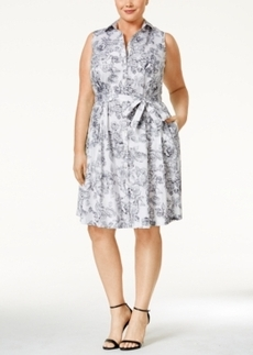 Charter Club Plus Size Floral Printed Fit & Flare Dress, Only at Macy's